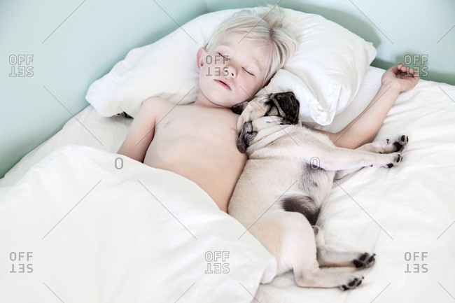 Boy sleeping with pug