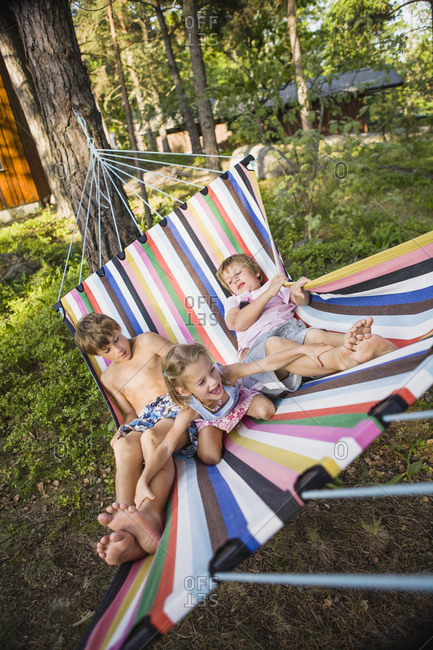 Children on hammock