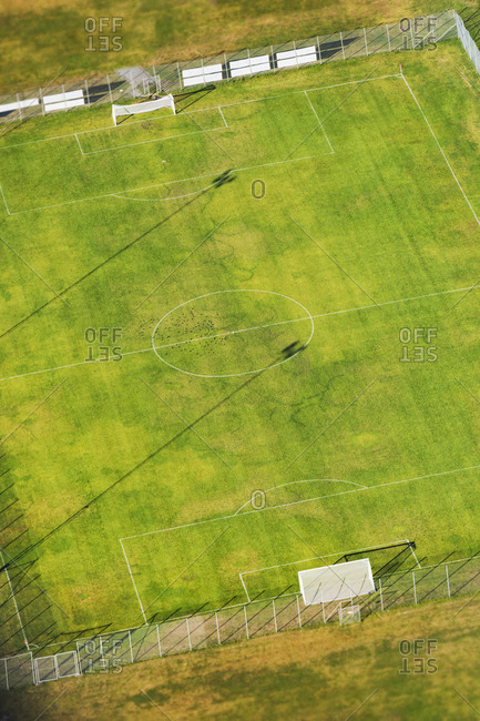 Aerial view of soccer playing field