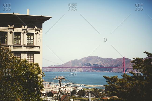 View on San Francisco Bay and Golden Gate Bridge, USA