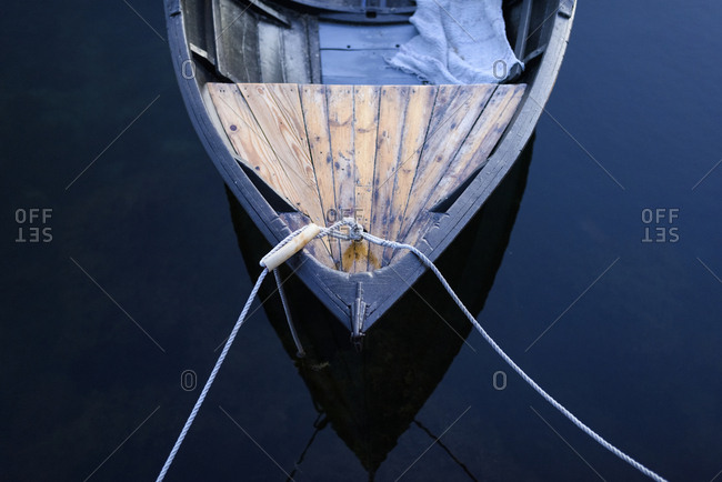 Moored boat, high angle view