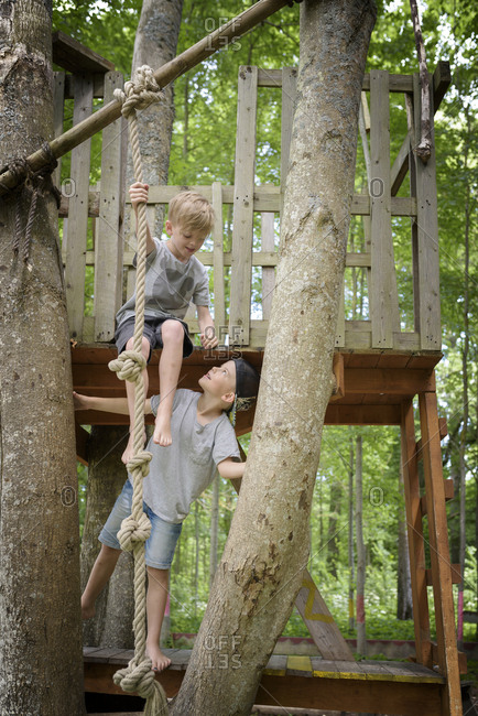Boys in tree house
