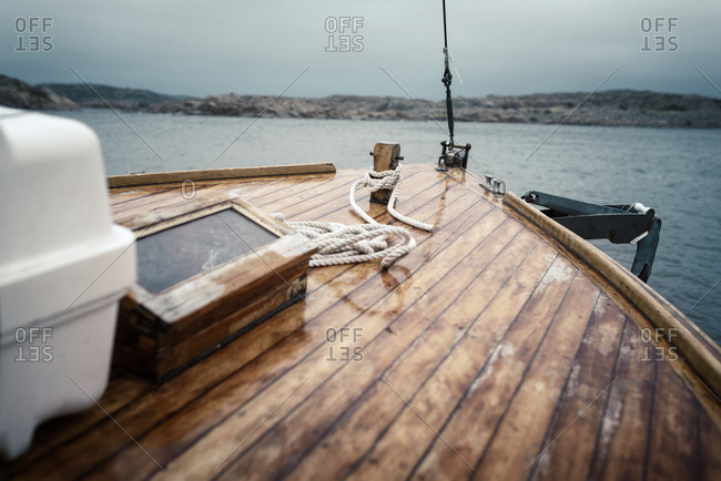 Wooden boat on sea