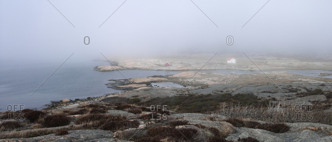 Rocky coast at foggy weather