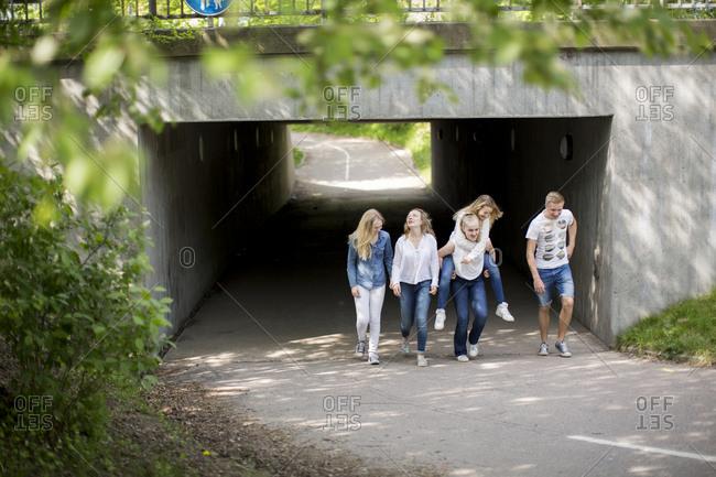 teens at a viaduct