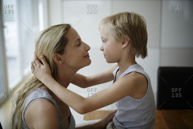 Mother and son face to face
