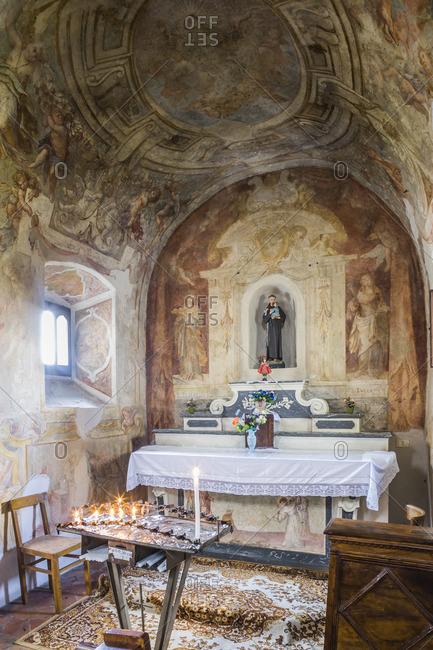 Tuscany, Italy - May 1, 2005: Detail of the interior of Chiesa (church) della Madonna dei Remedi in Abbadia San Salvatore