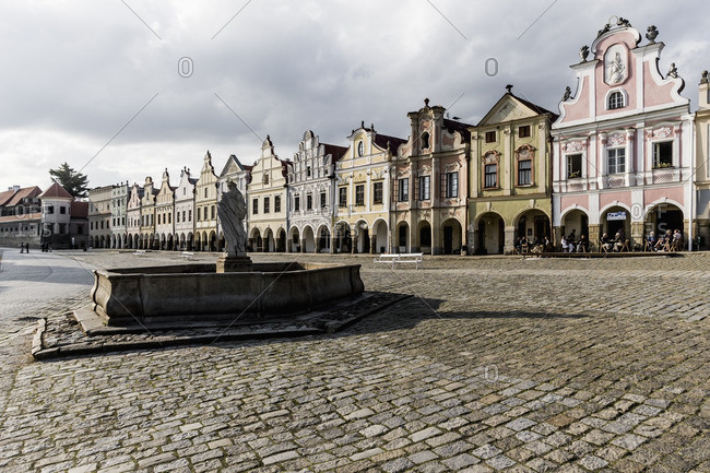 Telc, Moravia, Czech Republic - June 12, 2005: The fountain and the houses in Namesti (square) Zachariase z Hradce