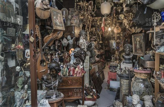 Naples, Italy - May 23, 2005: An Antiquario (antique dealer)
