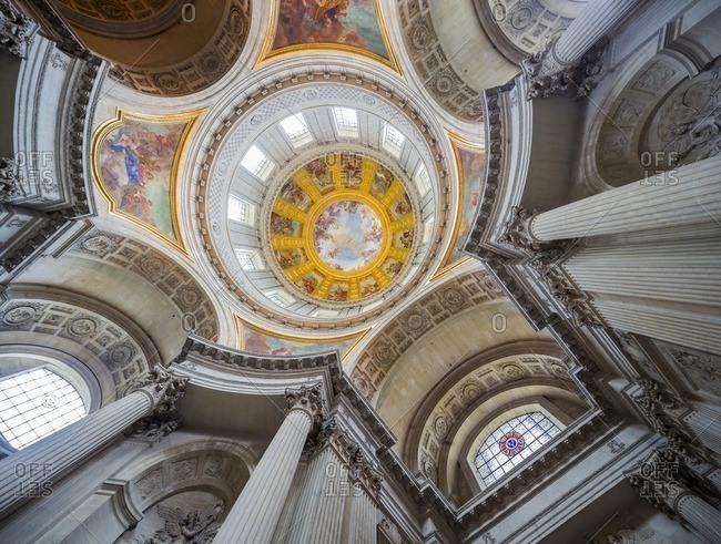 Paris, France - June 9, 2013: Hotel des Invalides, Chapel of Saint-Louis-des-Invalides, Dome des Invalides with the painting by Charles de La Fosse