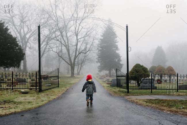 Boy walking into misty cemetery