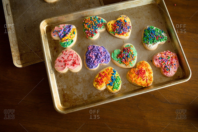 Heart shaped cookies with sprinkles