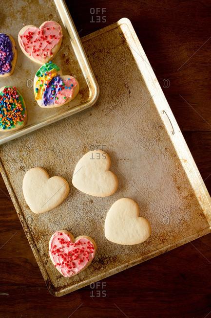 Heart cookies with sprinkles