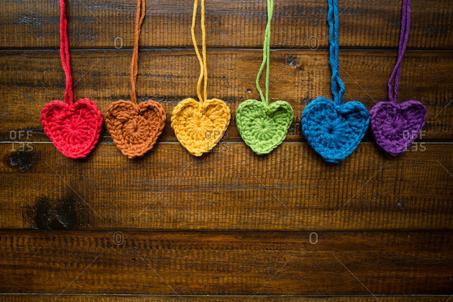 Crocheted hearts making a rainbow