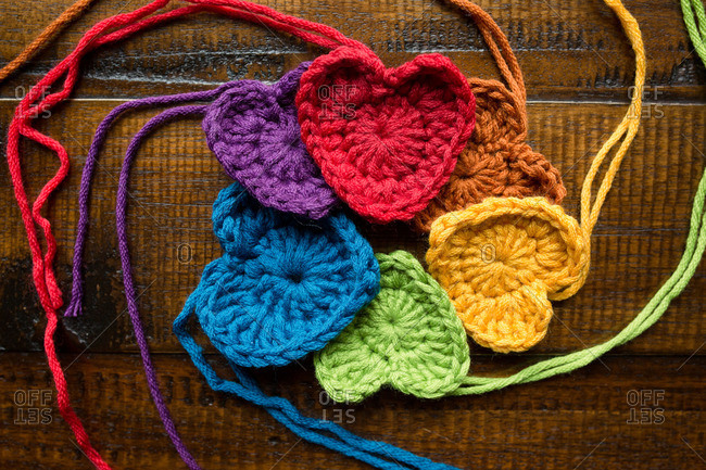 Crocheted hearts in rainbow colors