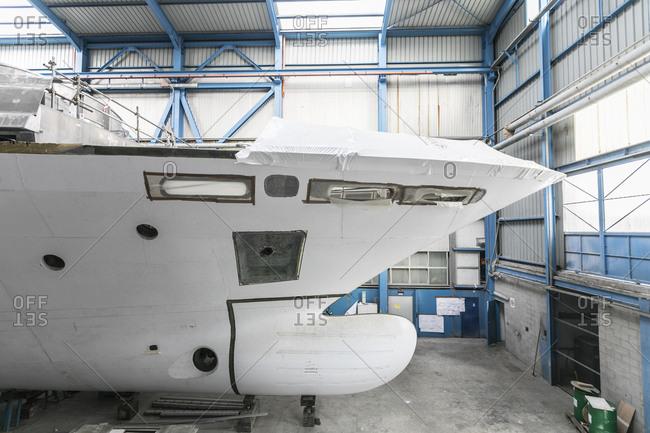 Viareggio, Italy - November 17, 2016: Starboard bow of yacht in dry dock