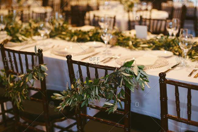 Wedding reception chairs with vines