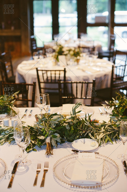 Wedding table with leaf centerpieces