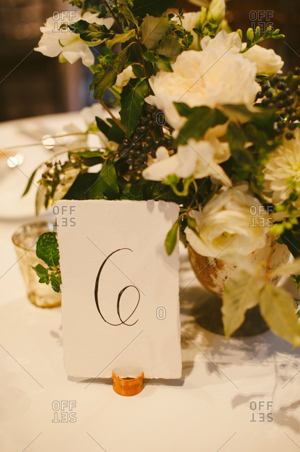 Number card on a wedding table
