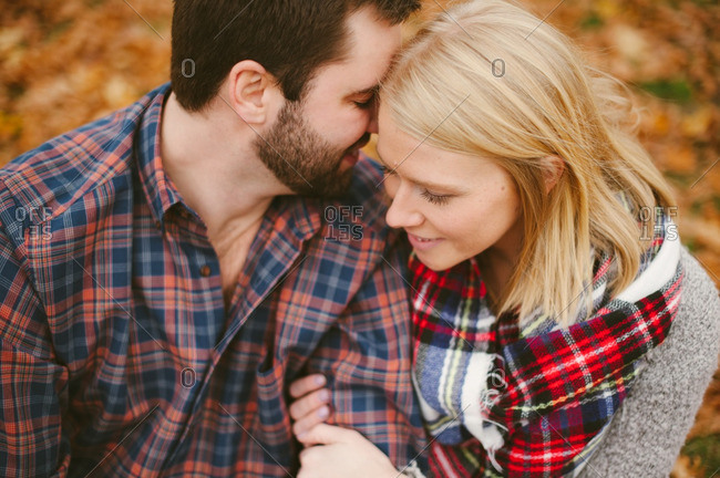 Couple embracing in an autumn setting