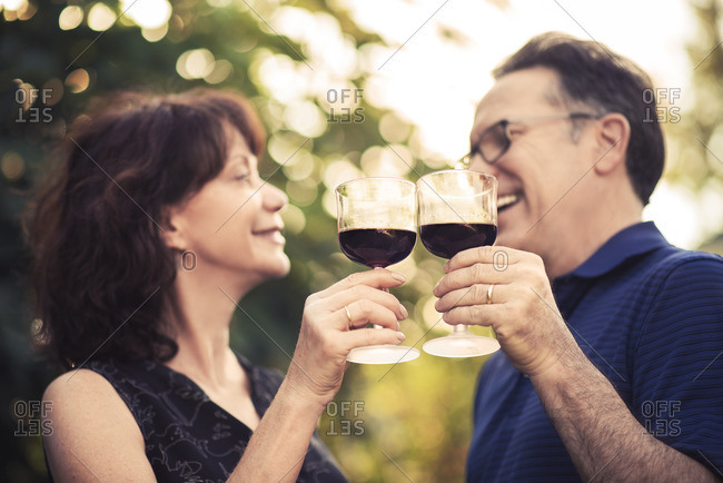 Smiling mature man and woman toasting wine glasses in backyard