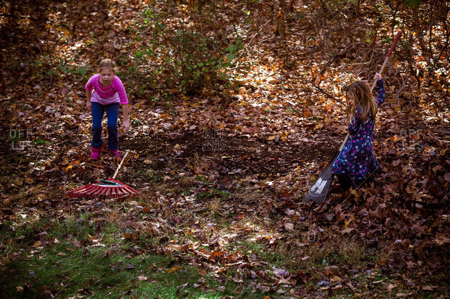 Two young girls raking leaves in autumn