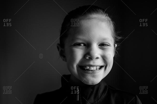 Portrait of cute young girl in dancewear