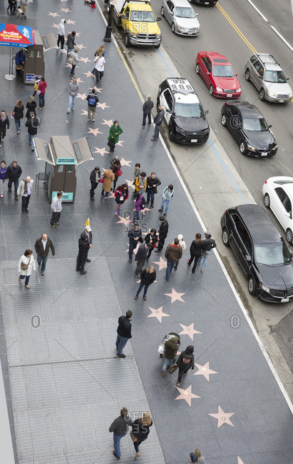 Los Angeles, California - January 31, 2016: Many pedestrians on the Hollywood Walk of Fame