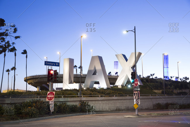Los Angeles, California - January 31, 2016: LAX sign at the entrance to Los Angeles International Airport