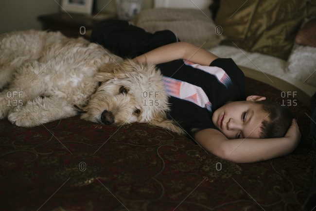 Boy lying with dog on bed