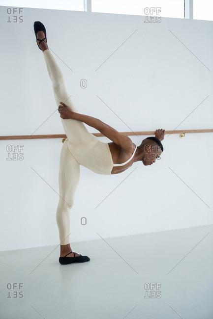 Ballerino practicing ballet dance in the studio