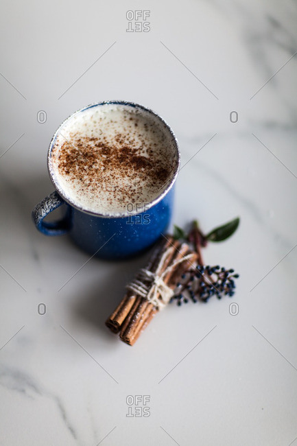 Overhead view of a cappuccino with cinnamon