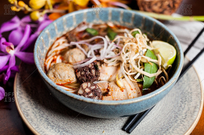 Close up of a traditional Vietnamese pho dish