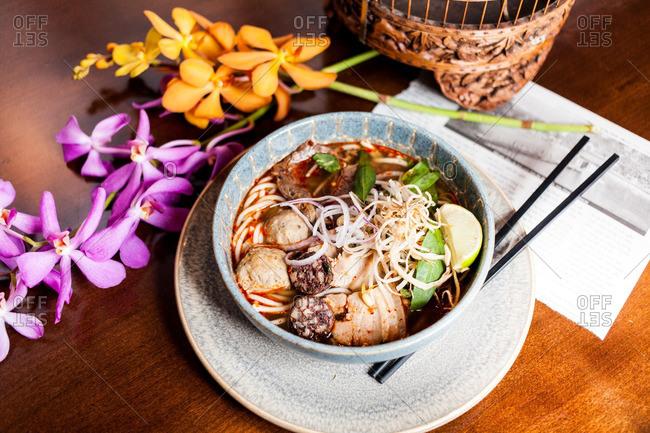 Traditional Vietnamese pho dish