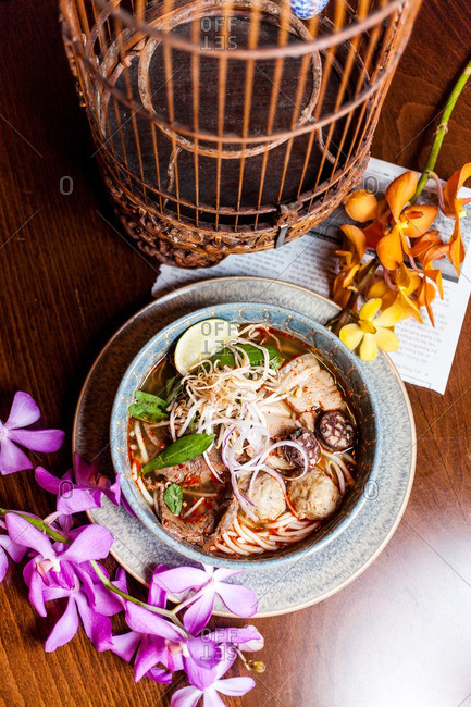 Overhead view of traditional Vietnamese pho
