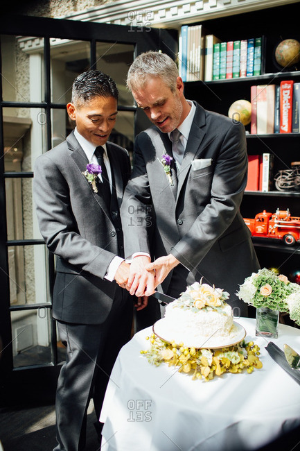 Grooms cutting their cake together