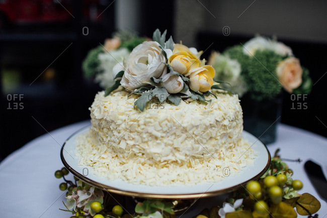 Wedding cake with coconut and flowers