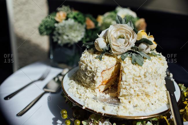 Coconut covered wedding cake