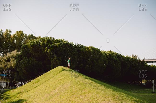 Boy standing on mound in park
