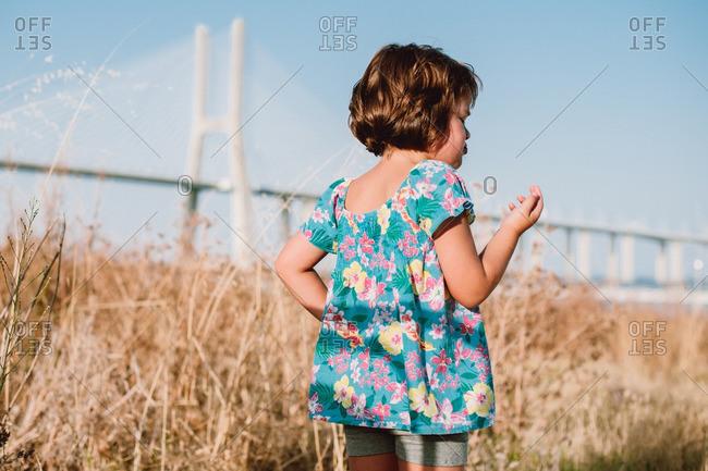 Girl in tall grass near bridge