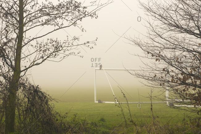 Soccer field in mist, England