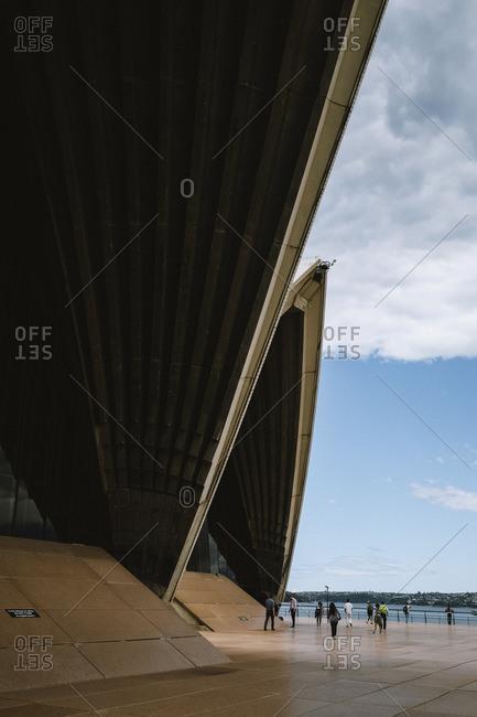 Sydney, Australia - November 13, 2016: Underneath rooflines of Opera House
