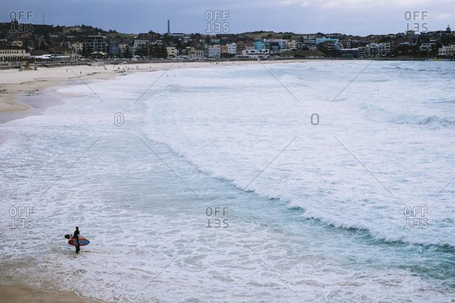 Sydney, Australia - November 14, 2016: Surfers in water on Bondi Beach