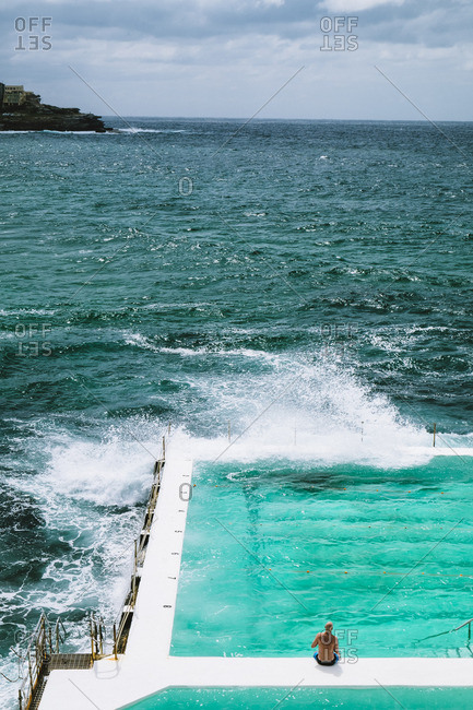 Waves crashing on Oceanside pool, Sydney, Australia