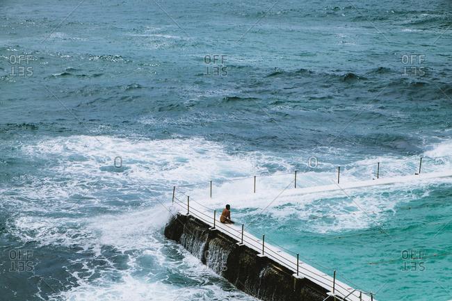 Person in seaside pool, Sydney, Australia