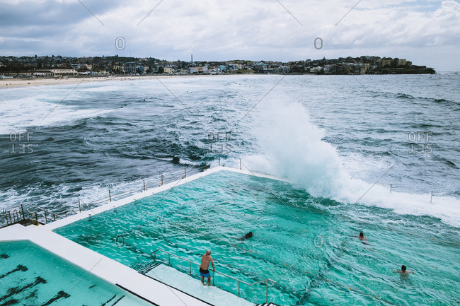 Waves hitting Oceanside pool, Sydney, Australia