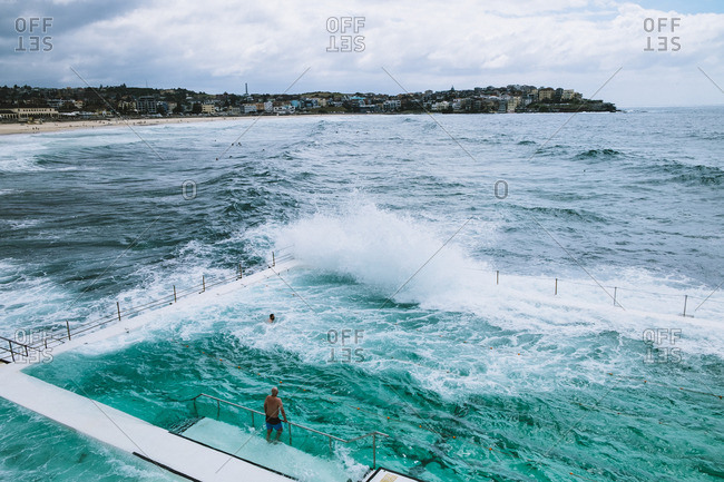 Waves hitting seaside pool, Sydney, Australia