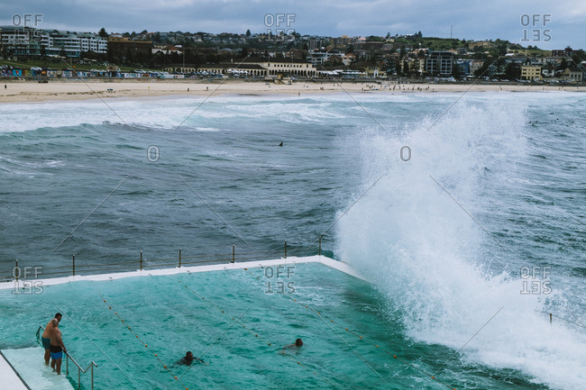 Waves splashing against seaside pool, Sydney, Australia