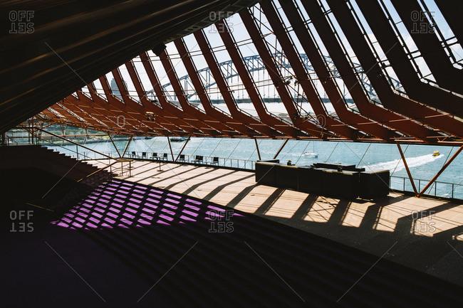 Sydney, Australia - November 14, 2016: View of harbor from inside Opera House