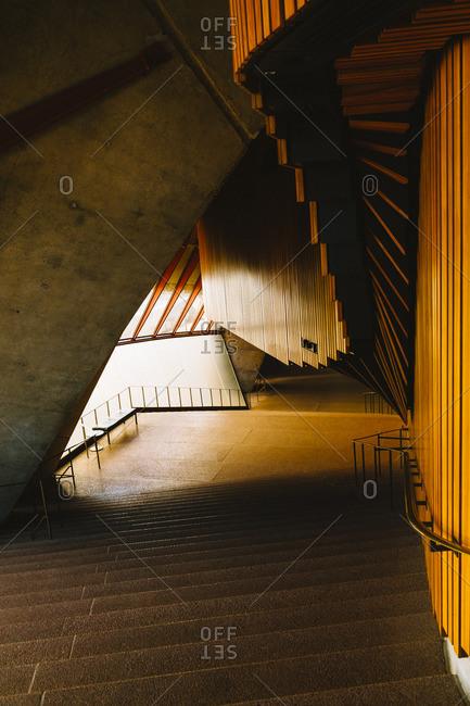 Sydney, Australia - November 14, 2016: Interior stairway in Opera House